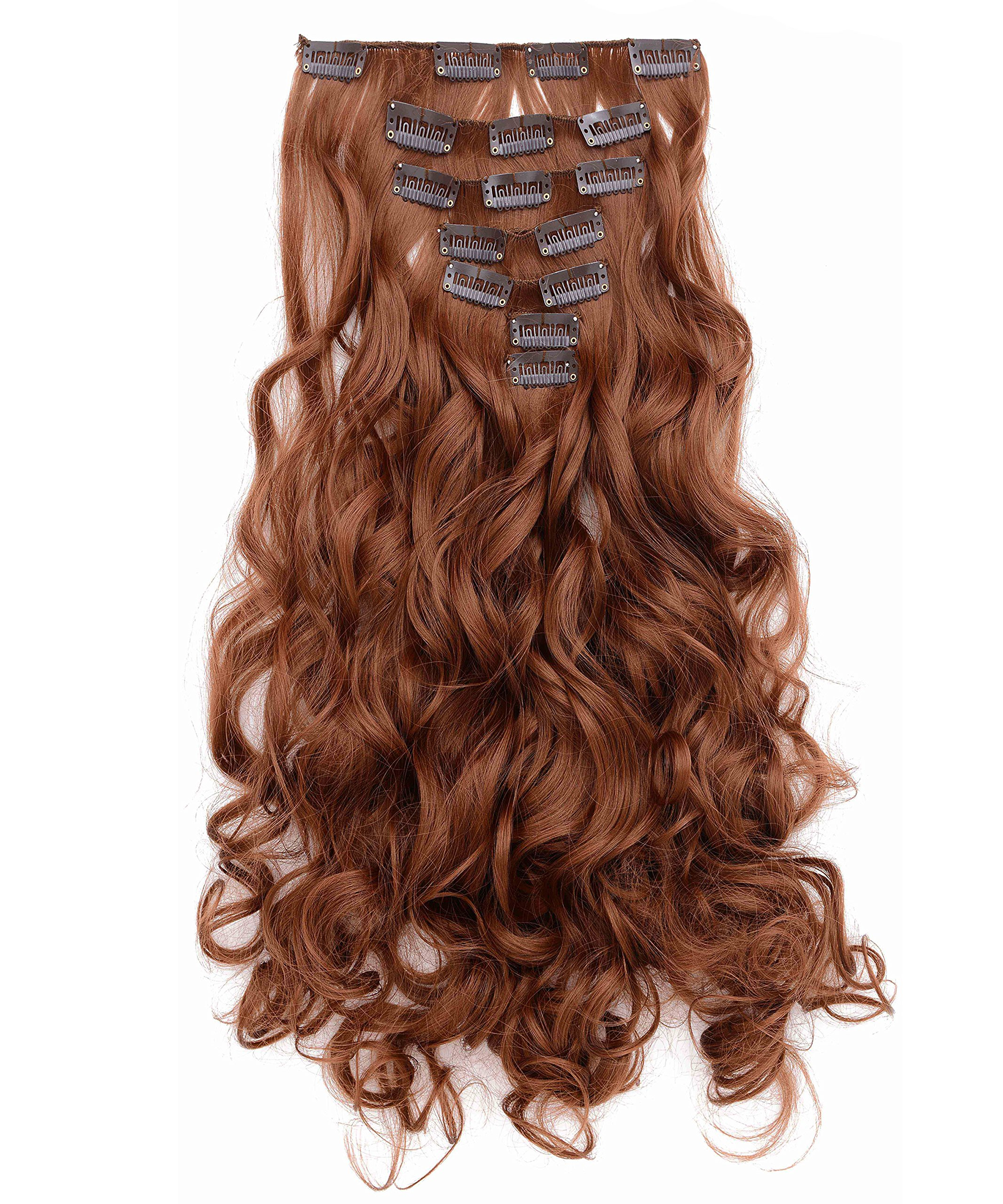 "OneDor 20"" Curly Full Head Clip in Synthetic Hair Extensions 7pcs 140g (Medium Auburn-30#)"