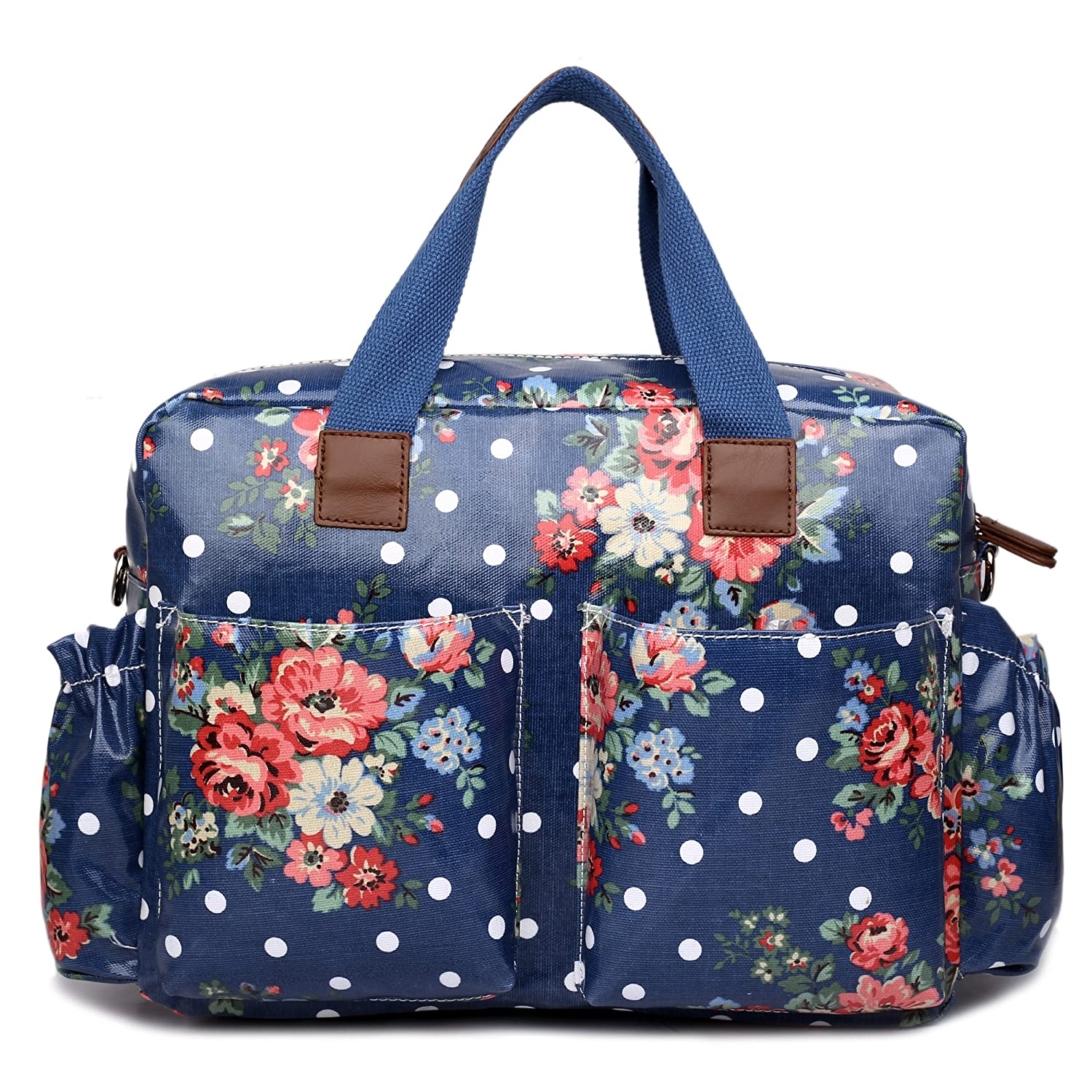 Blue Miss Lulu 4 Piece Flower Polka Dot Baby Nappy Changing Bag Set