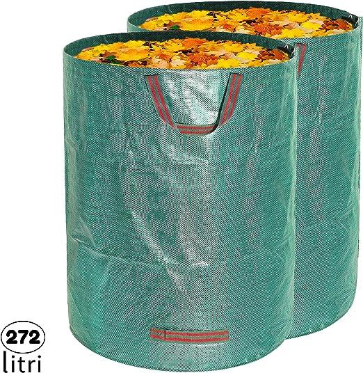MALOVI 2X Sacos de jardín Profesional para Basura de jardín - 4 Asas, A Prueba de desgarros, Repelente al Agua, Resistente, Reutilizable, Plegable, 272 L 76x67 cm, Polipropileno (PP) 150 gr/m²: Amazon.es: Jardín