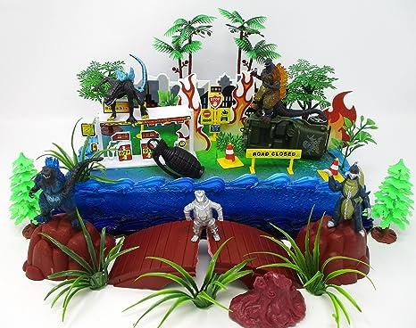 Terrific Amazon Com Godzilla Deluxe Birthday Cake Topper Set Featuring Birthday Cards Printable Giouspongecafe Filternl
