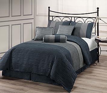 Amazoncom Zadooth Full 7 Piece Comforter Set Slate Blue