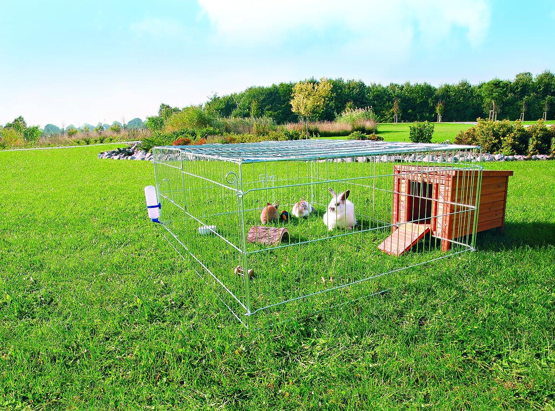 Trixie - Jaula galvanizada con techo para conejos, 144 x 116 x 58 ...