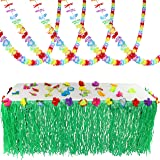 Joyin Toy Luau Tropical Hawaiian Party Decoration Set Including 100 ft Flower Lei Garland, 36 Hibiscus Flowers and 9 ft Luau Table Skirt