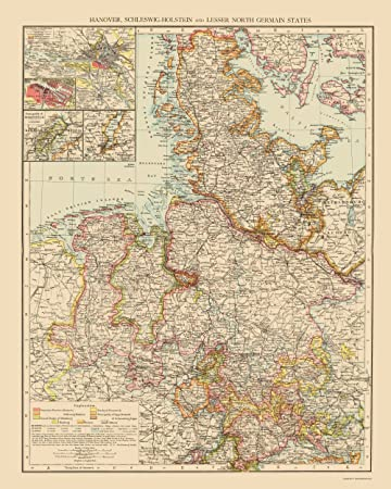 Germany Map With States.Amazon Com Old Germany Map Hannover Schleswig Holstein North