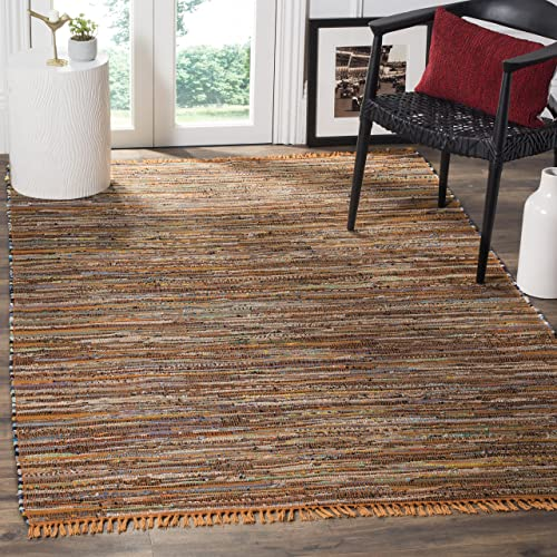 Safavieh Rag Rug Collection RAR127N Hand Woven Gold and Multi Cotton Area Rug 6 x 9