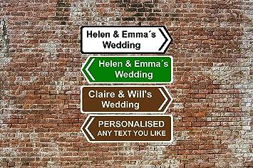 Personalised Mini Direction Road Sign UK Street Custom Brown Wedding