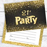 Black And Gold Effect 21st Birthday Party Invitations