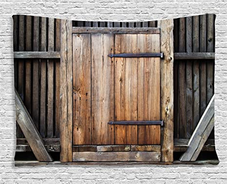 Ambesonne Antique Decor Tapestry, Rustic Antique Wooden Door Exterior  Facades Rural Barn Timber Weathered, - Amazon.com: Ambesonne Antique Decor Tapestry, Rustic Antique Wooden