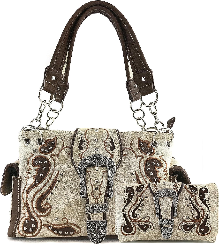 Justin West Concealed Carry Western Tritone Paisley Flower Buckle Embroidered Laser Cut Shoulder Handbag | Trifold Wallet