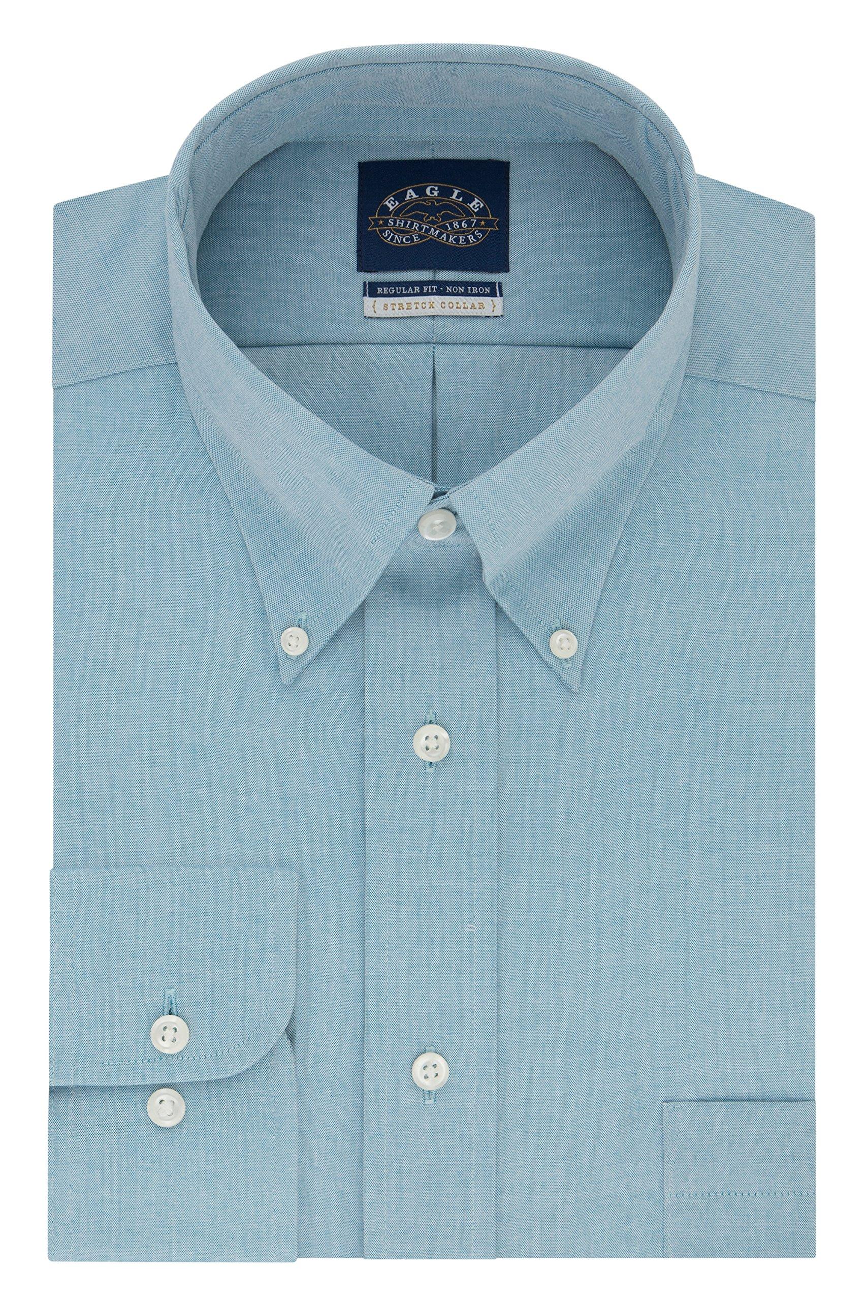 Eagle Men's Non Iron Stretch Regular Fit Solid Buttondown Collar Dress Shirt, Green Sea, 16'' Neck 32''-33'' Sleeve