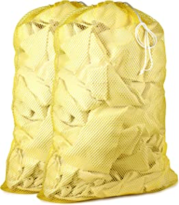 "Commercial Mesh Laundry Bag - Sturdy Mesh Material with Drawstring Closure. Ideal Machine Washable Mesh Laundry Bag for Factories, College, Dorm and Apartment Dwellers. (24"" x 36"" 