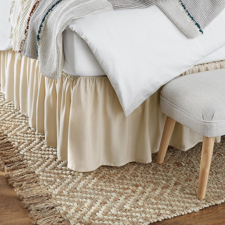 AmazonBasics Ruffled Bed Skirt - Queen, Beige