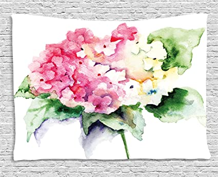Amazon.com: Ambesonne Floral Tapestry, Hydrangea Flower Bouquet in ...