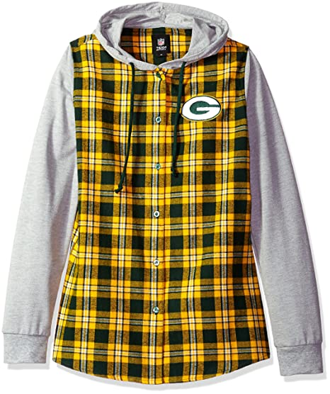 80b2e584 Amazon.com : Green Bay Packers Lightweight Flannel Hooded Jacket - Womens  Medium : Sports & Outdoors