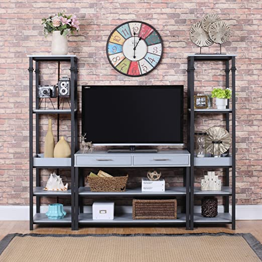 amazoncom modern 3 piece gaming entertainment center tv stand grey kitchen dining amazoncom altra furniture ryder apothecary tv