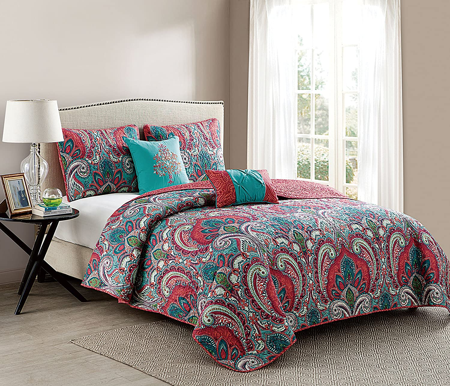 Twin Size Comforter Set in Multicolor Bohemian Style Paisley 4 Pc Set w/ Decorative Pillows Victoria Classics C10-4CS-TWIN-IN-MULTI