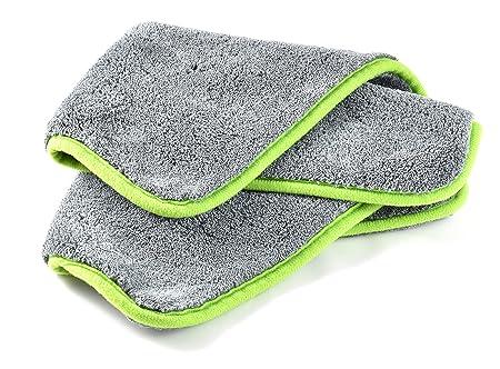 Paño de microfibra efecto brillo coche cuidado | Bayeta seco y abrillantador | Super Velcro 1200 GSM | 40x40 cm | 2 toallas: Amazon.es: Coche y moto