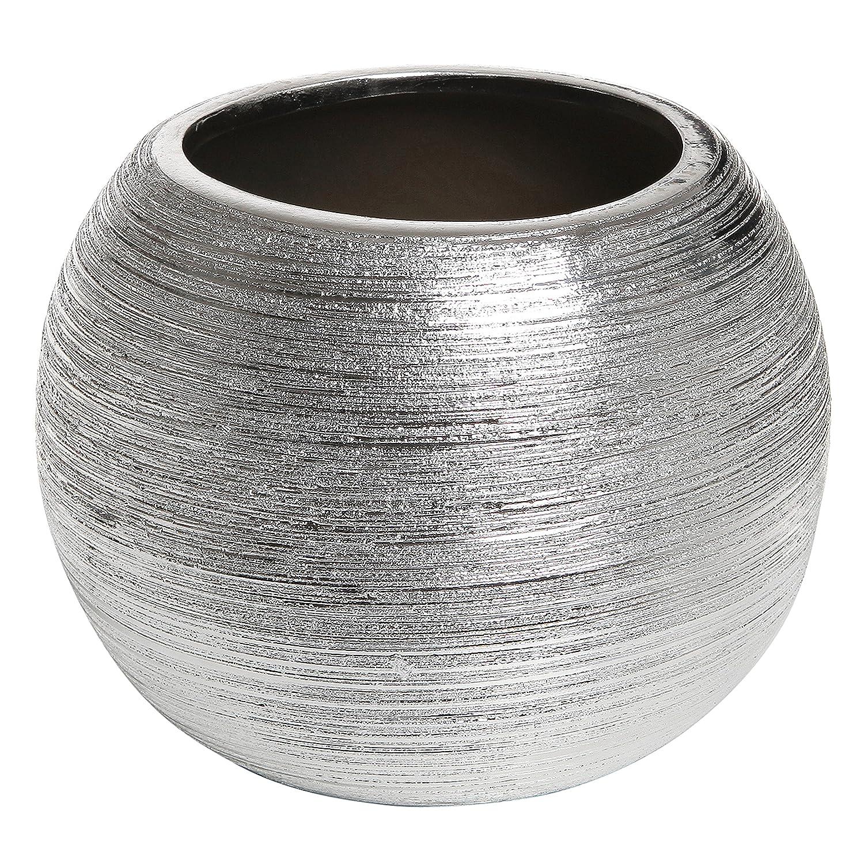 Amazon 675 inch modern round metallic silver tone ridged amazon 675 inch modern round metallic silver tone ridged ceramic plant pot decorative bowl shaped flower vase home kitchen reviewsmspy