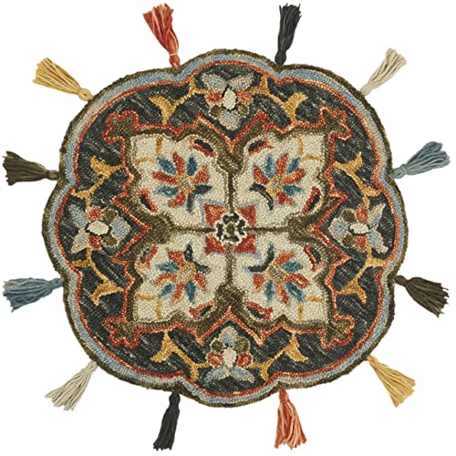 Loloi Remy Collection Round Accent Wool Area Rug, 3 x3 , Navy Spice