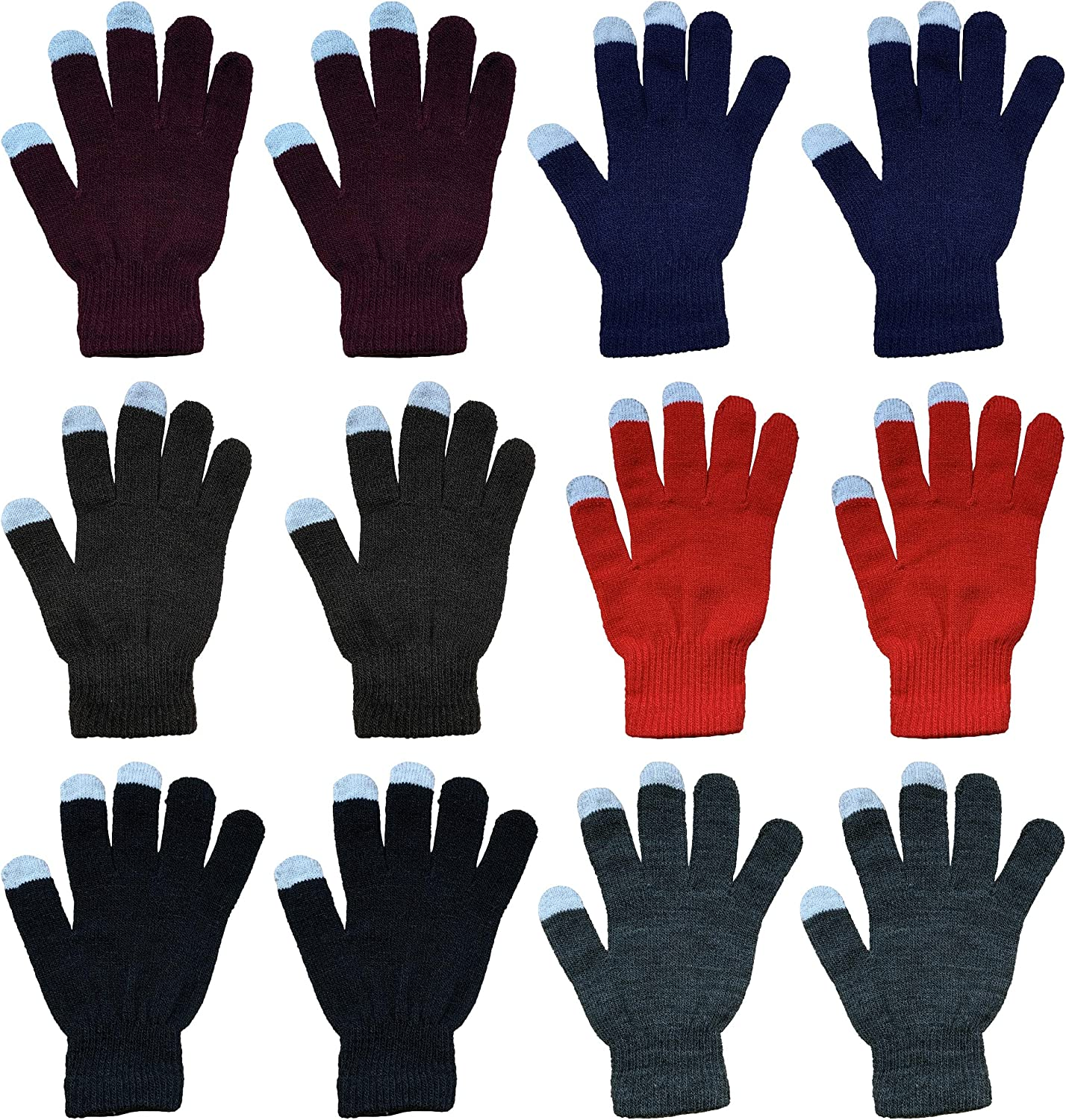 12pairs Boys Girl Children Kids Assorted Colors Warm Winter Magic Gloves Thermal