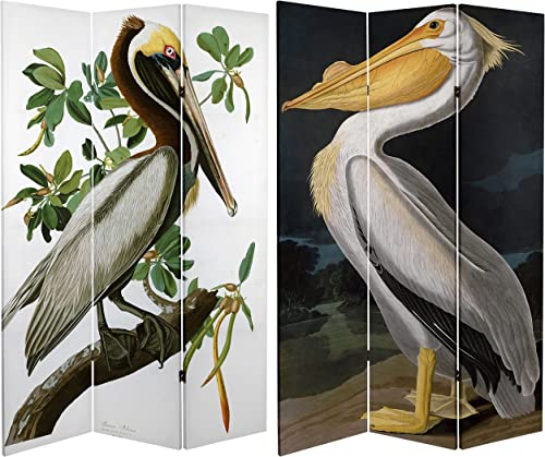 ORIENTAL Furniture Tall Double Sided Audubon Pelican Canvas Room Divider, 6