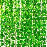 Mandy's 12 Strands Artificial Green Ivy Leaf Garland for Home Kitchen Wedding Wall Decor (polyethylene)