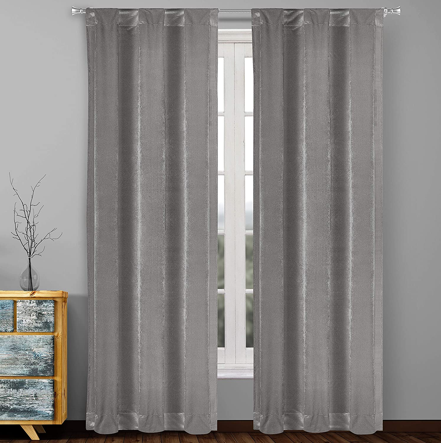 Home Maison Zola Curtain Set, 38x96, Charcoal
