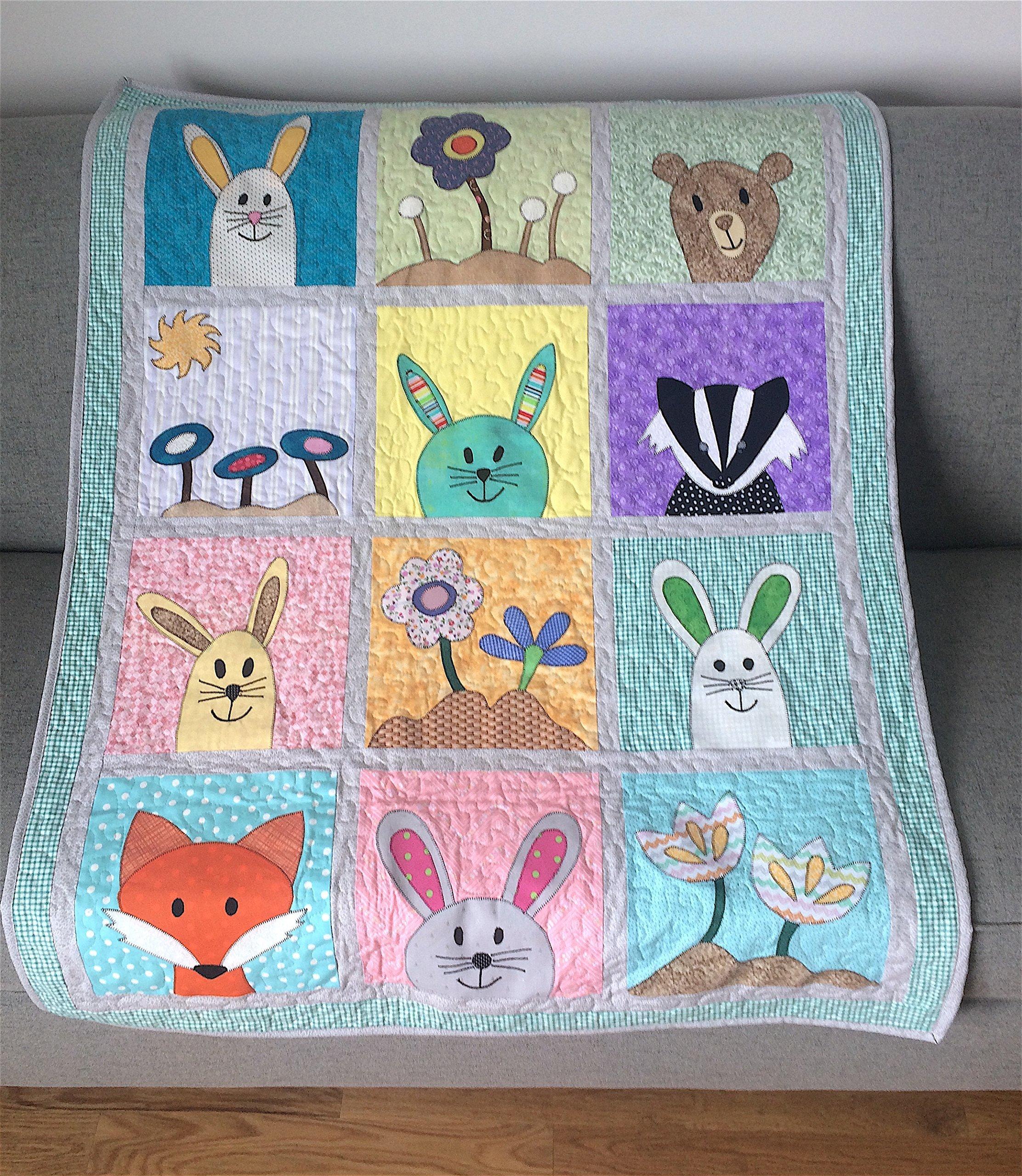 Woodland Forest Animals Baby Toddler Quilt Flowers Bunnies Nursery Stroller Blanket