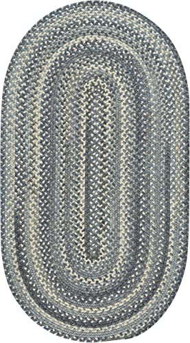 Capel Rugs Tooele Braided Oval Area Rug, Blue Jean, 7 x 9