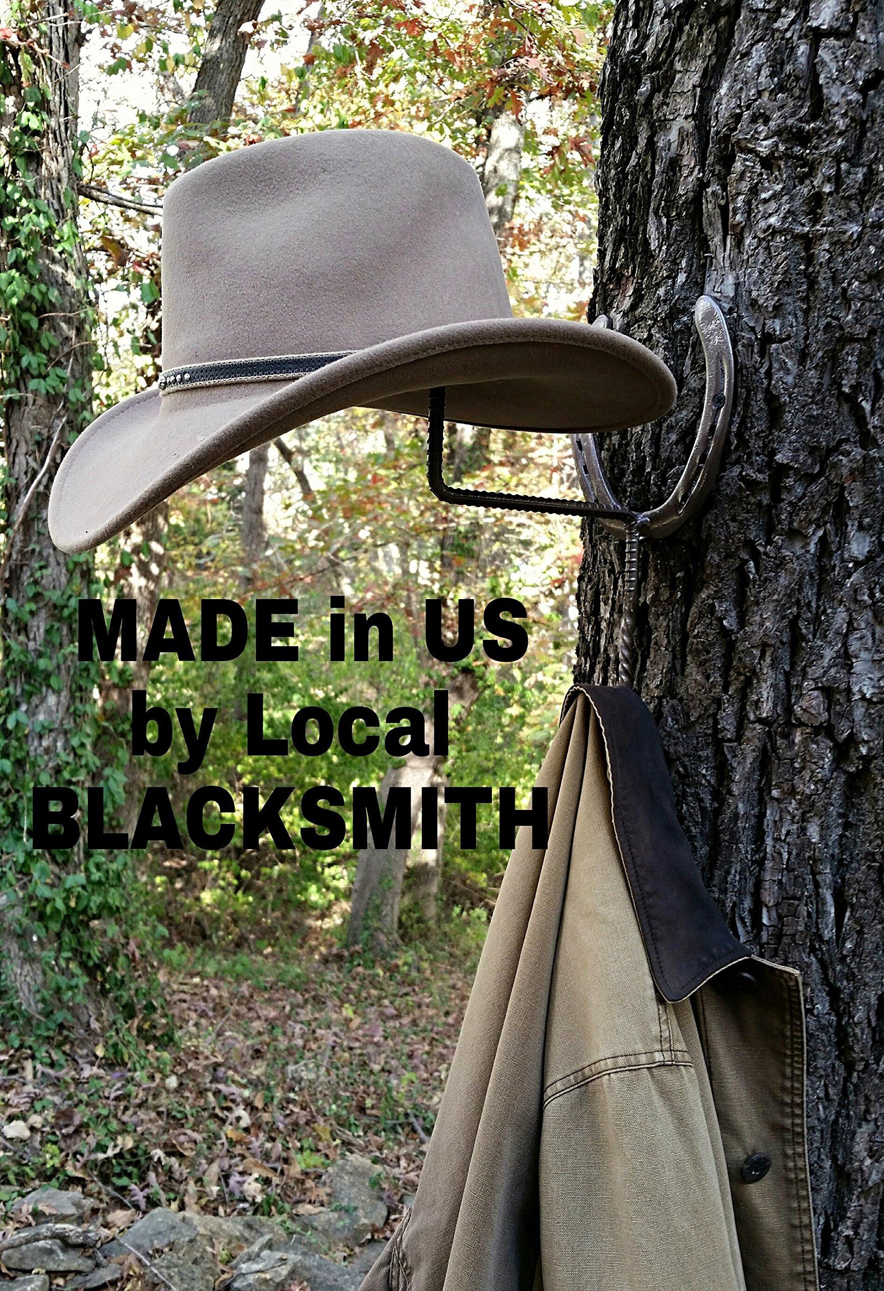 New Shoes, Horseshoe Cowboy Hat & Coat Rack, Blacksmith Made, Real Horseshoes