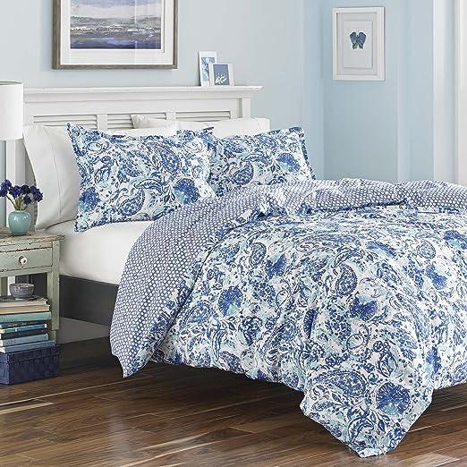 Poppy /& Fritz Alex Blue 3-Piece Comforter Set Twin//Full//Queen//King Cotton