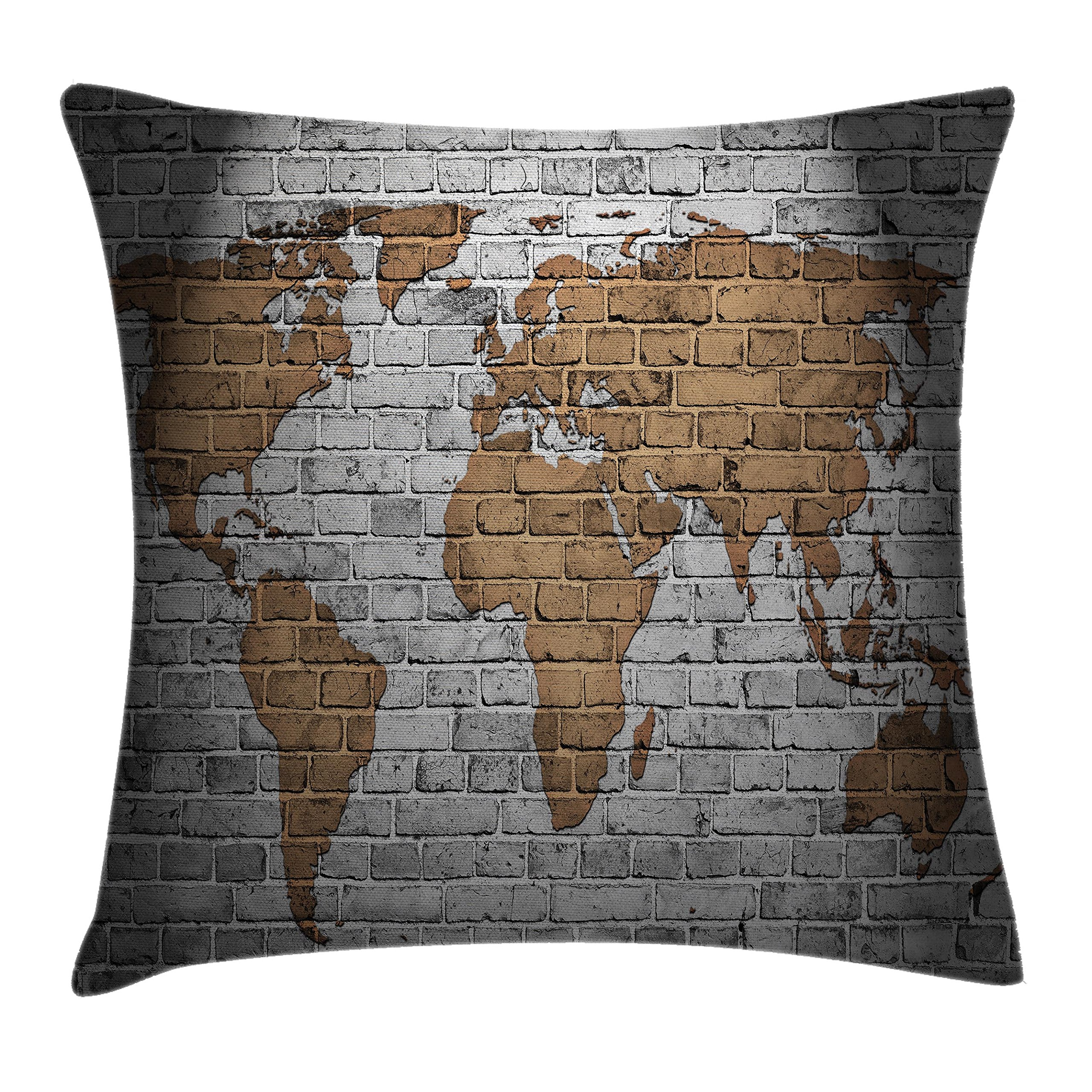 Ambesonne Wanderlust Throw Pillow Cushion Cover, World Map Old Brick Wall Countries Continents Creative Aged Vintage Rough, Decorative Square Accent Pillow Case, 24 X 24 Inches, Brown and Grey