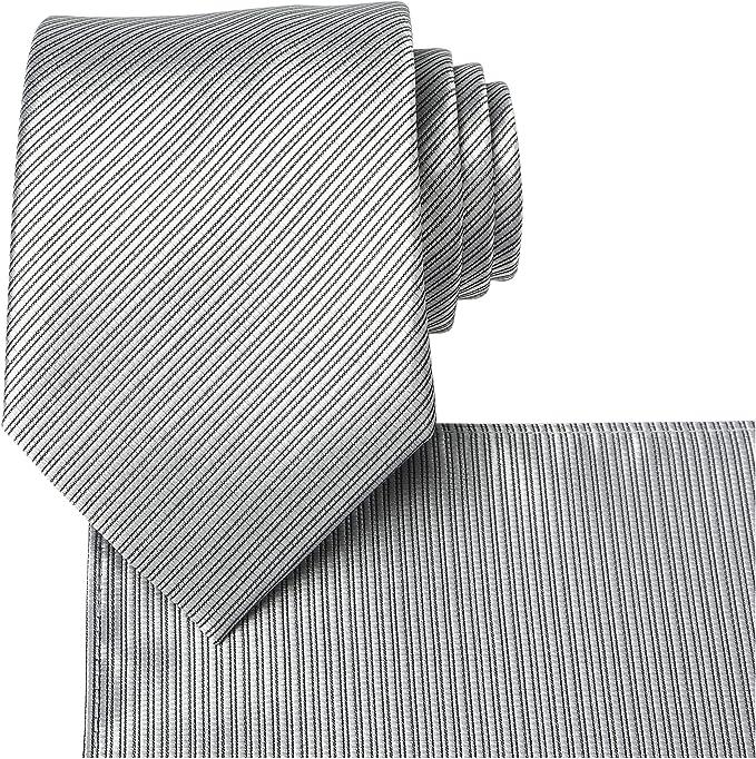 Kissties - Corbata para hombre de rayas, color fucsia gris Silver ...