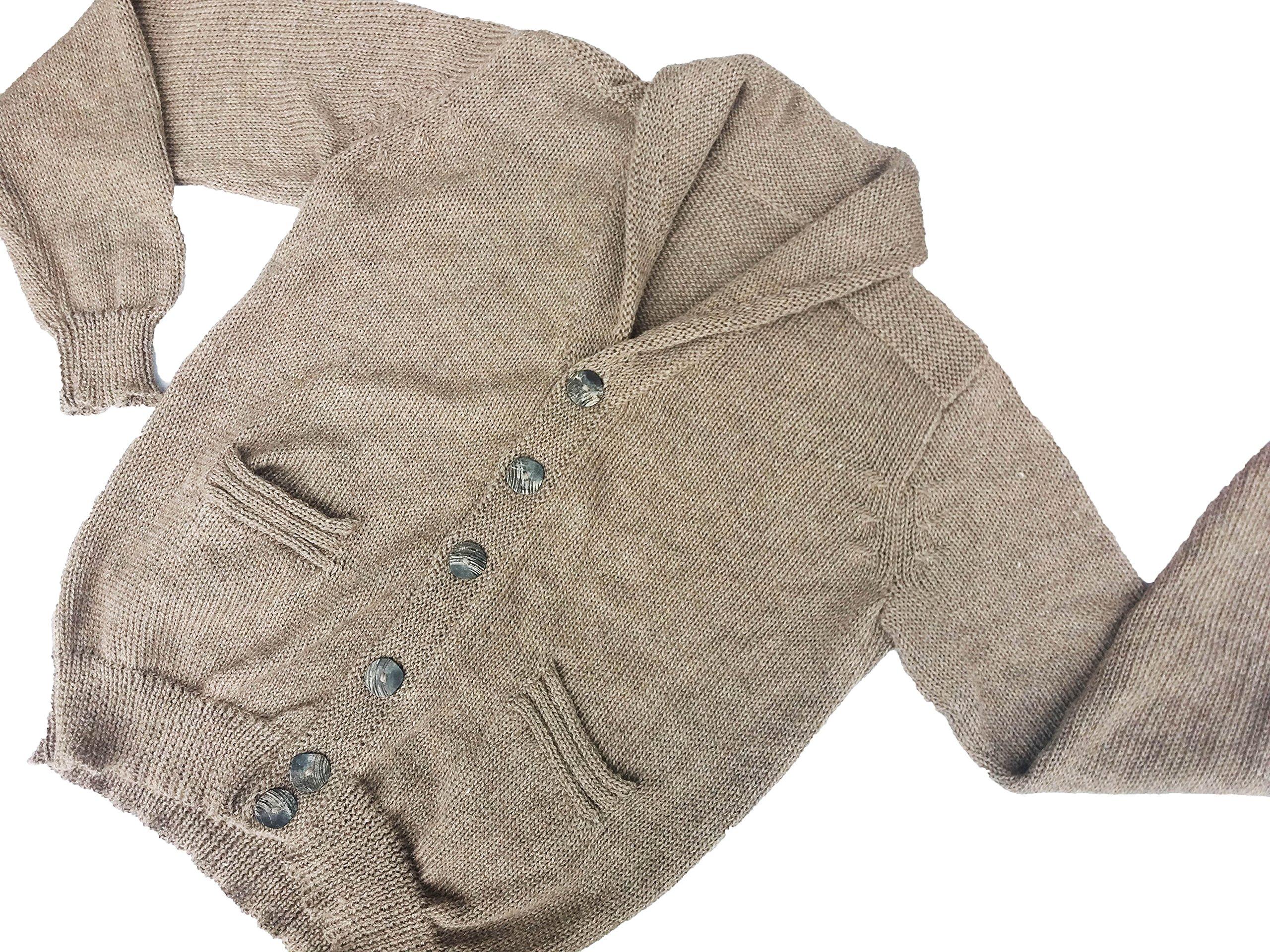 Sweet Dreams Home 100% Peruvian Royal Alpaca Charcoal Shawl Collar Cardigan, Natural Beige XL