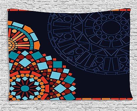Camera Da Letto Stile Marocco : Dark blue tapestry by ambesonne disegno geometrico circolare