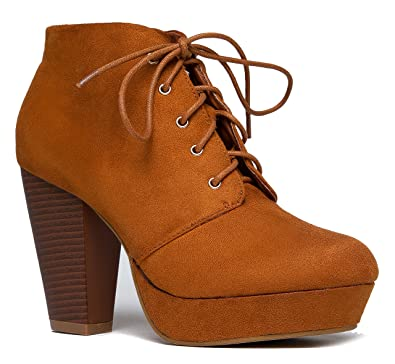 Amazon.com | Lace up Platform Stacked Chunky Heel Bootie - Pull on