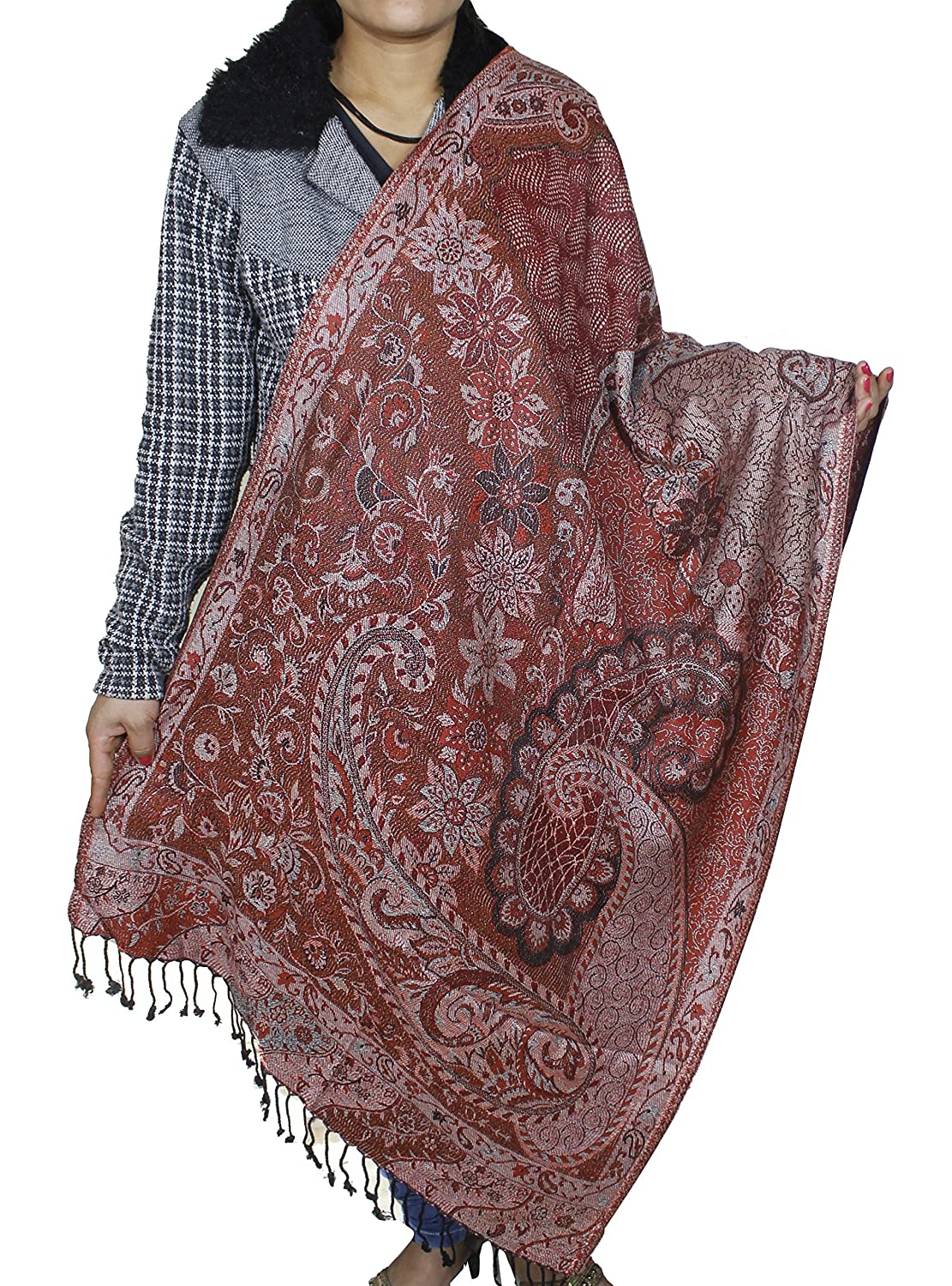 Wedding Bridal Wrap Brown -Indian Paisley Pattern Stole Scarf for Girls