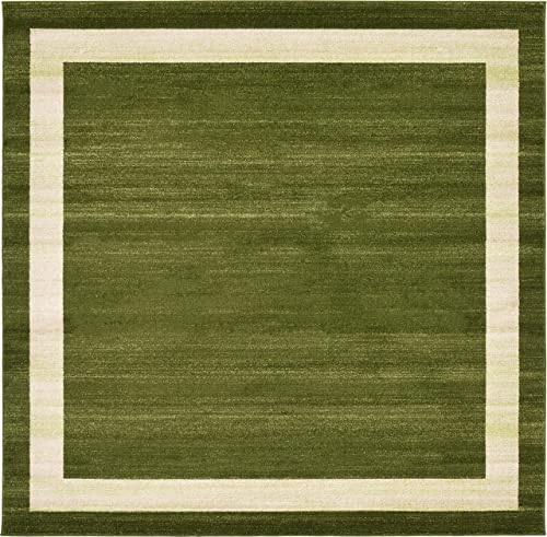 Unique Loom Del Mar Collection Contemporary Transitional Green Square Rug 8 0 x 8 0