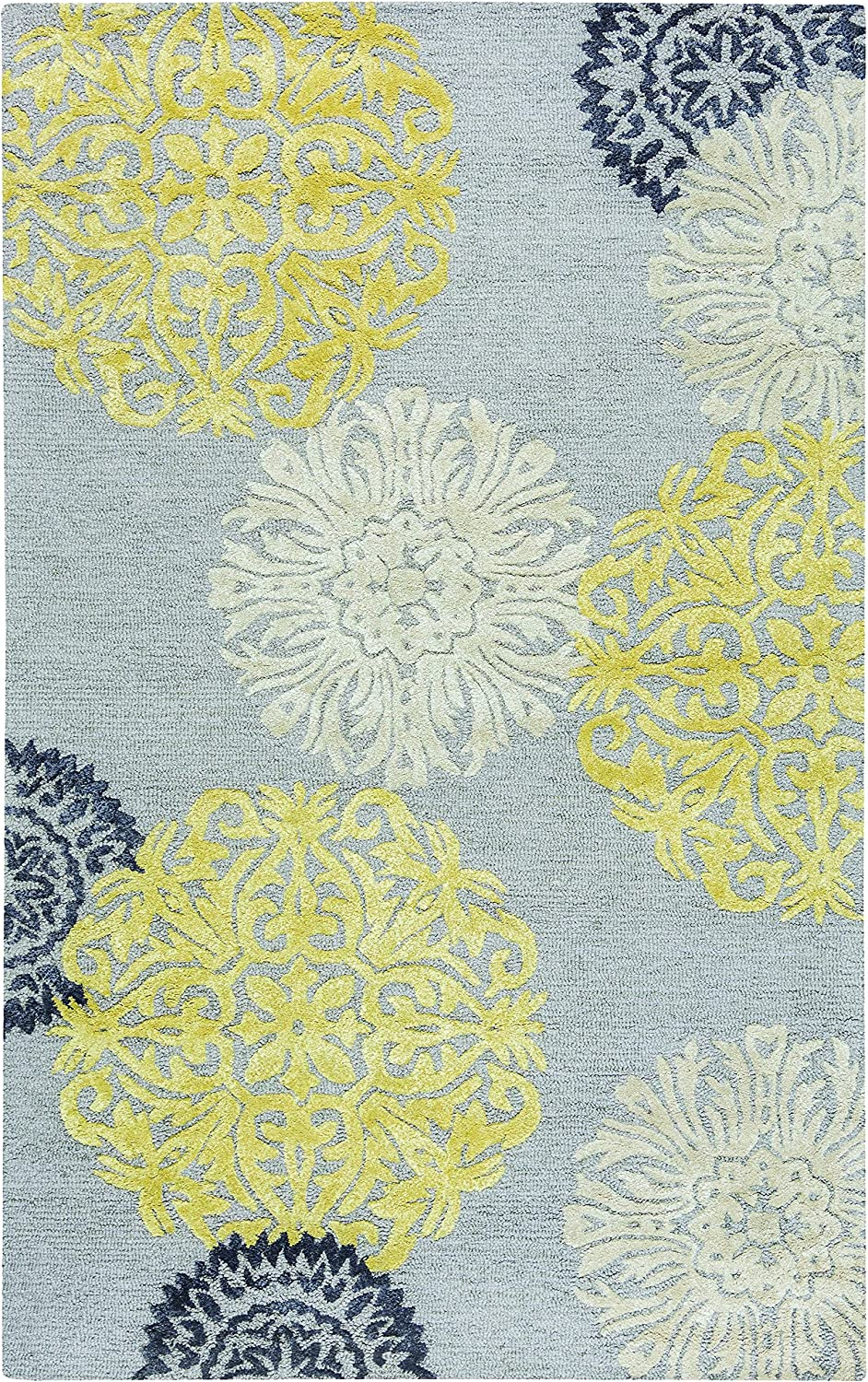 Rizzy Home Eden Harbor Collection Wool/Viscose Area Rug, 9' x 12', Yellow/Gray/Rust/Blue Medallion