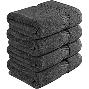 Utopia Towels 700 GSM Premium Bath Towels - 4 Pack Towel Set - (27x54 Bath Towels) - 100% Ring-Spun Cotton Towels for Home, Hotel and Spa (Dark Grey)