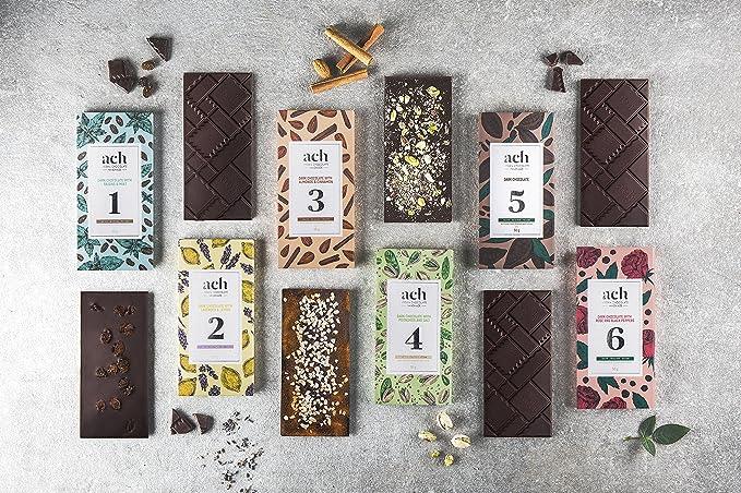 Lujoso Orgánico Chocolate vegano Conjunto para obsequio 6 sabores chocolate negro/pistachos y sal/