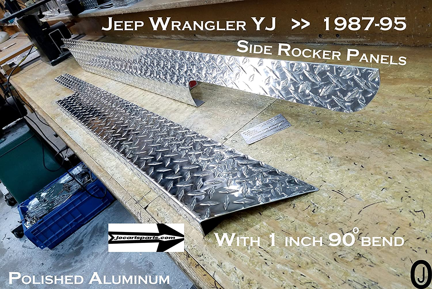 JEEP YJ Wrangler 6' Diamond plate Rocker Panel Guards with / 90° 1 inch lip J & O Carts Parts