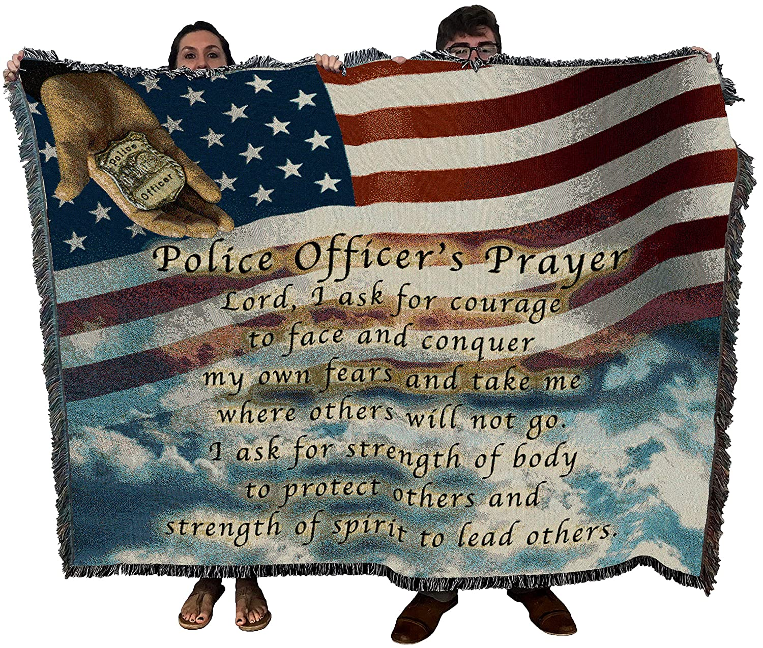 Police Officers Prayer Woven Tapestry Throw Blanket with Fringe Cotton USA 72x54 3254-T Pure Country Weavers