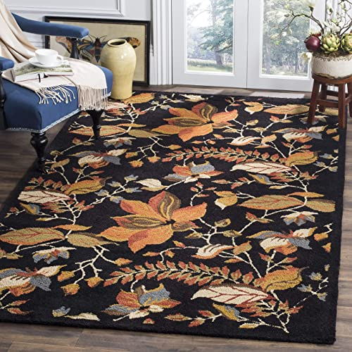 "Safavieh Blossom Collection BLM913B Handmade Black and Multi Premium Wool Area Rug 8'9"" x 12'"