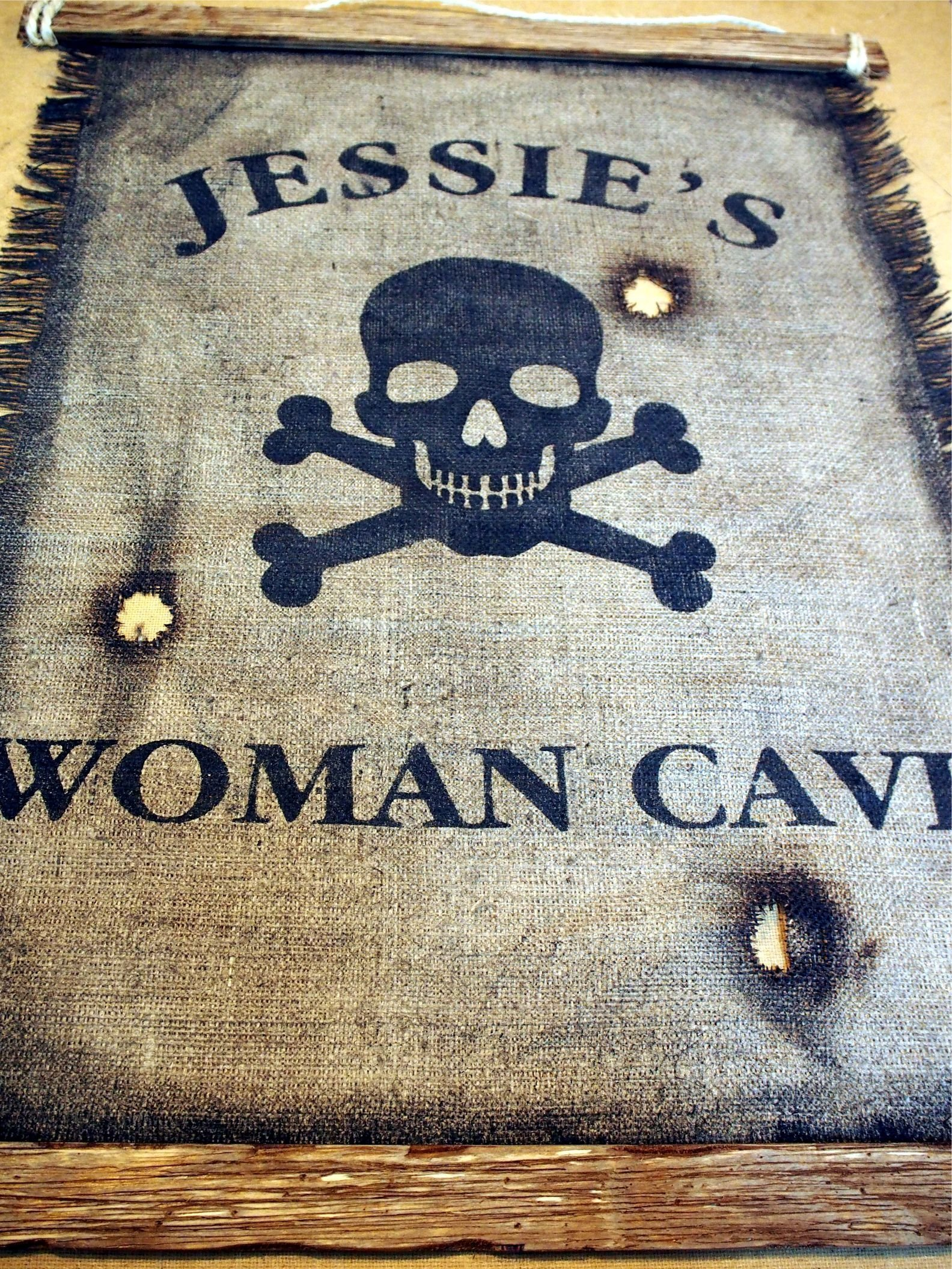 Custom Flag wall decor made of worn out burlap and wood | Rustic Decor | Pirate flag Wall art | Personalized Gift | Man Cave, Home Bar, Boys Room by Woodcraft City (Image #6)