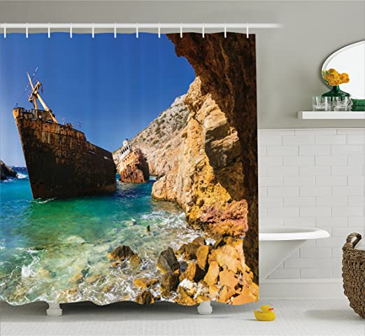 Shipwreck Shower Curtain by Lunarable, Old Ship Wreck by Cyclades Island in Greece Pebbles Olympia Mediterranean Worn, Fabric Bathroom Decor Set with Hooks, 105 Inches Extra Wide, Blue Cream