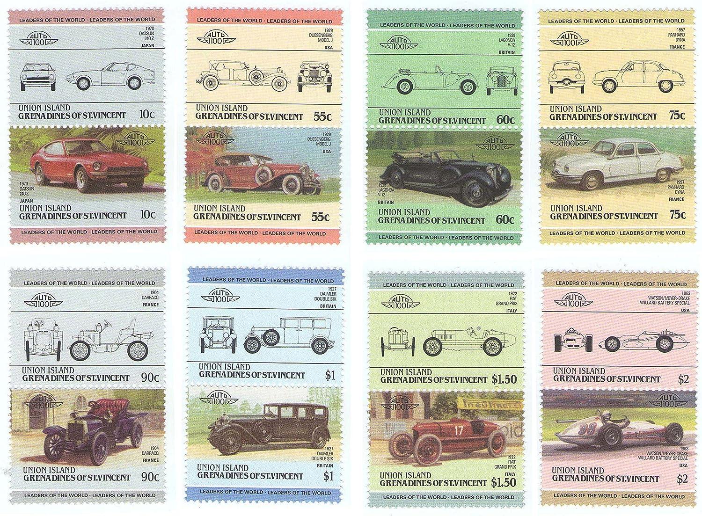 Stampbank Autos Antiguos 16 Sellos (8 Pares) establecen 100 años de automóviles / Unión Islas Granadinas de San Vicente / MNH: Amazon.es: Juguetes y juegos