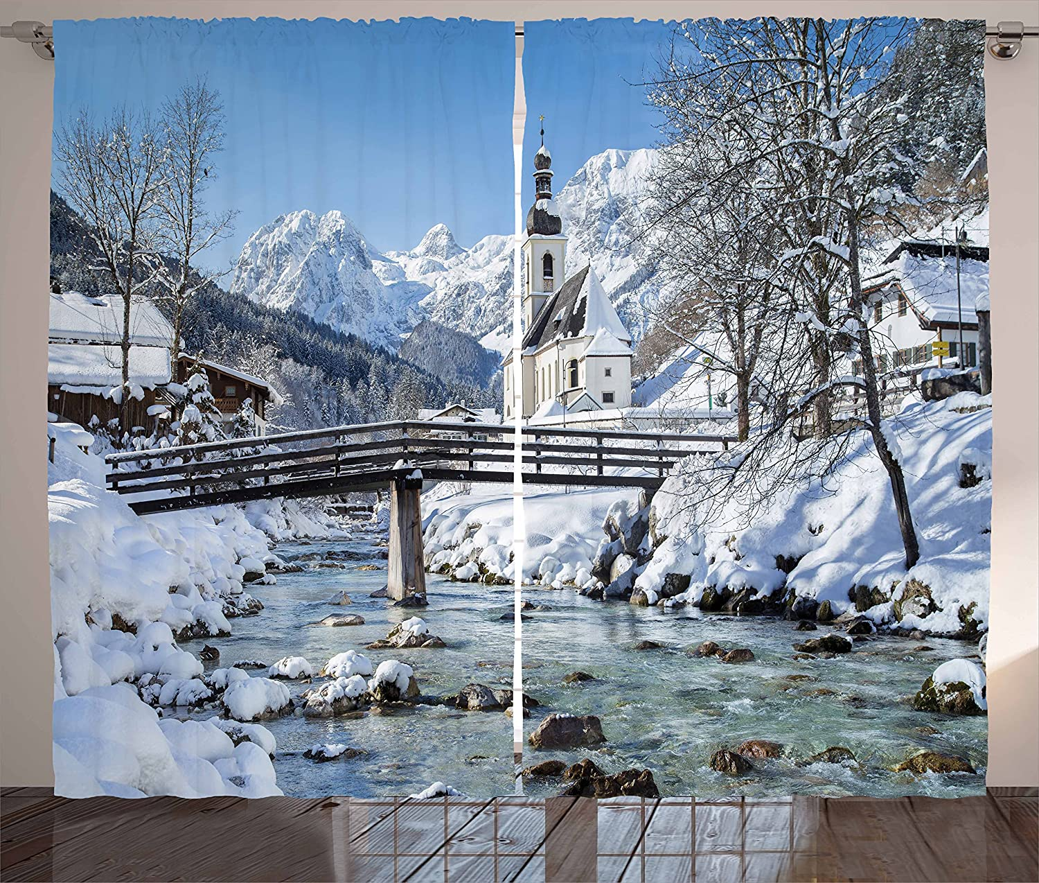 Ambesonne Winter Curtains, Panoramic View of Scenic Landscape in Bavaria Parish European Scenic Places, Living Room Bedroom Window Drapes 2 Panel Set, 108