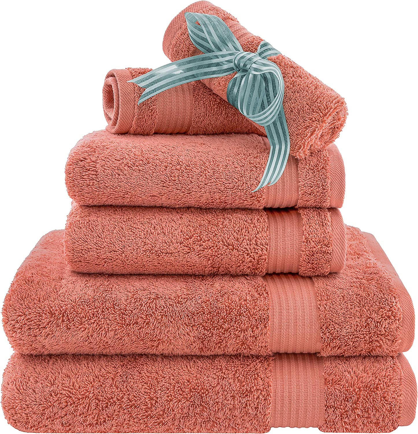 Amazon Com Hotel Spa Quality Super Absorbent And Soft Cotton 6 Piece Turkish Towel Set For Kitchen And Decorative Bathroom Sets Includes 2 Bath Towels 2 Hand Towels 2 Washcloths Coral Kitchen Dining