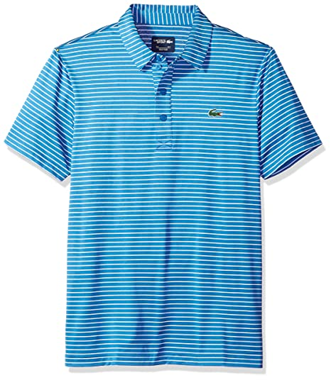 Lacoste Men s Short Sleeve Jersey Raye with Fine Stripes   Button Front  Placket Polo, DH3358 3d0d88cfc8b0